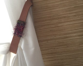 Natural leather curtain tie backs