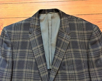 Vintage 50s Brookshire Black Green Plaid 3 Roll 2 Sport Coat Blazer 40-42