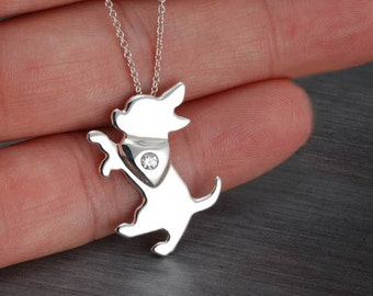 Short Haired Chihuahua Chiwawa Handcrafted sterling silver necklace