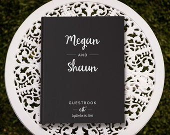 Black Guest Book, Black and White Wedding Guest Book, Wedding Sign In Book, Bride and Groom Gift, Engaged Gifts