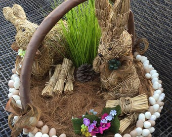 Easter Basket with Bunnies and Eggs