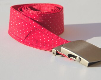 Fabric - jeans belt small dots Red