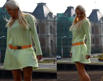 Dress knee-length striped long sleeve light green
