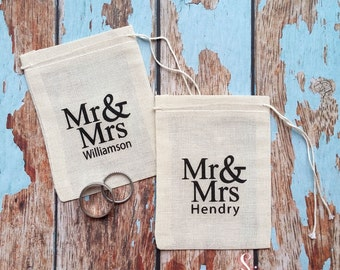 Wedding ring bag with personalised last name. Ring pillow alternative, ring bearer accessory, ring warming ceremony.