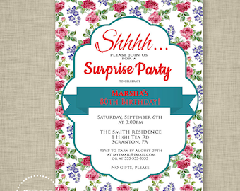 Surprise Party Invitation Rose Birthday Invite Teal and Red High Tea Invitation Floral Garden Invite Party Invite Printable JPG File 133