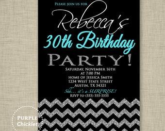 30th Birthday Chevron Invitation Black Silver Glitter Surprise Party Aqua Blue Printable Party Invite - JPEG file High res 300DPI(64)