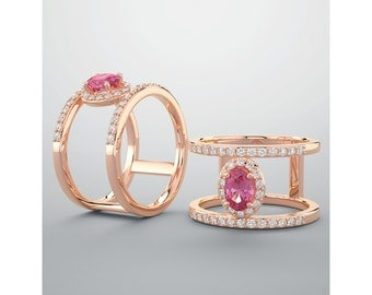 Pink Sapphire Diamond Double Band Ring, 14K Rose Gold, Aquamarine, Morganite, Moisssanite, Unique Wedding Combination