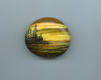 STONE - HAND PAINTED; from Lake Superior, original art, golden sunset, nature, lake and island, miniature art, one of a kind, shelf art,