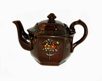 One Person Teapot, Redware Glazed Brown, 1940 Vintage
