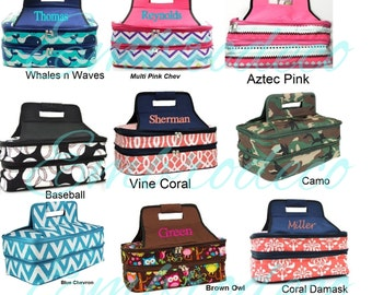 Personalized casserole carriers with 2 insulated compartments in many vibrant styles