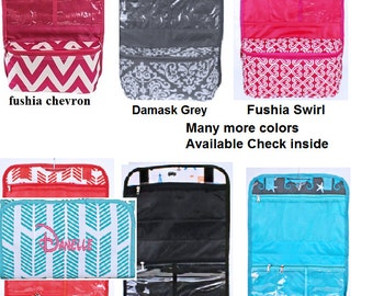 Personalized hanging cosmetic bags - perfect for travel, college students, keeping bathroom neat and tidy