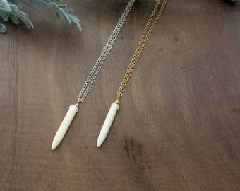 Howlite Spike Necklace // Howlite // Necklace // Dainty // Boho // Bohemian // Minimal // Layering Necklace // Natural Stone
