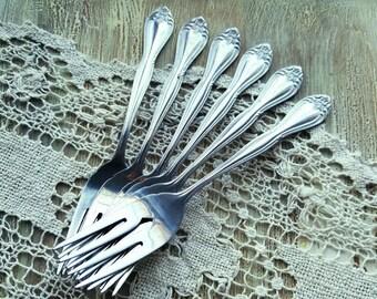 Vintage Desert Forks, Mismatched Silverware, Set of 6 Forks