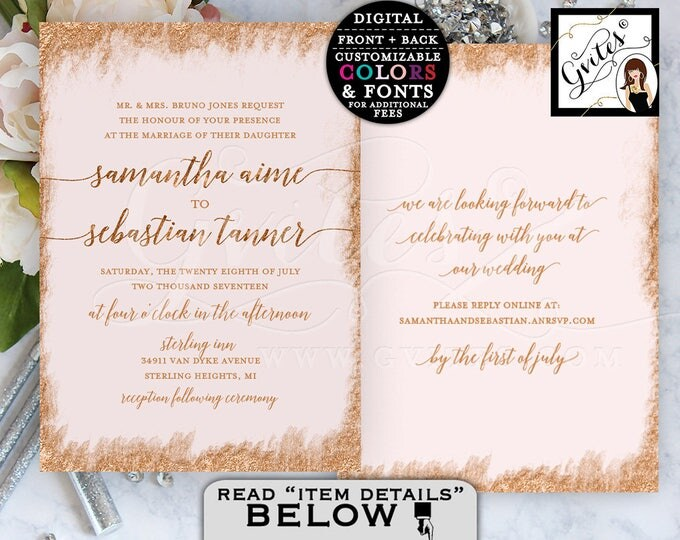 Rose gold wedding invitations, rose gold glitter, bling, elegant rose gold, glam glitz wedding invite, printable double side. {You Print}