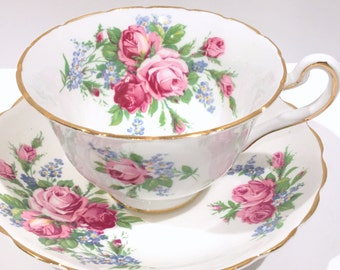 Rosina Tea Cup and Saucer, English Bone China, Made in England, Pink Rose Cups, Antique Teacups, Vintage Tea Party, English Tea Cups