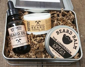The Lumberjack Beard Kit - Cedarwood & Bergamot Beard Oil, Balm, Beard Shampoo, Beard Grooming Kit, Christmas Gift For Him