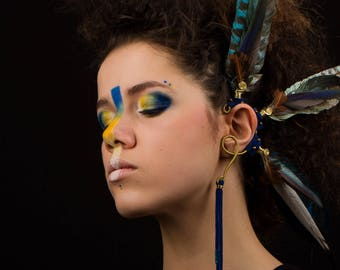 Gem of ear feathers - Fathers earcuff festival - Tribal earcuff