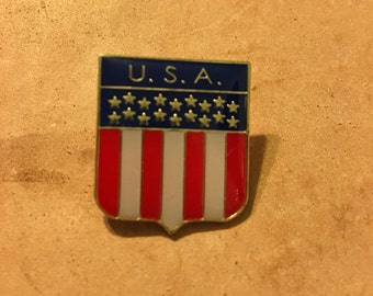 Stars and Stripes Crest Lapel Pin