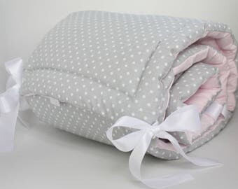 Cot Bumper, Polka Dots, Grey White Pink, Baby Girl, Baby Bedding, Half cot bumper
