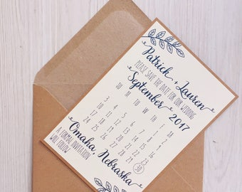 Save the date cards - Rustic save the date cards - Navy save the date cards