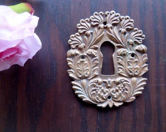 French escutcheon plate vintage brass keyhole cover with flower decor