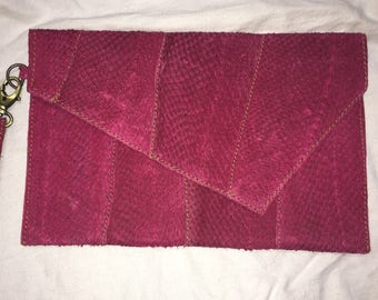 Salmon Leather clutch- fuschia