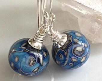 Blue Lampwork Glass Earrings   Blue and Black Glass Earrings   Sterling Silver Earrings