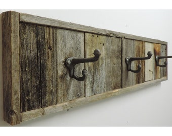 "28.5"" 3-Hook Reclaimed Barnwood Towel Rack"