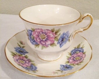 Vintage Queen Anne Bone China Teacup & Saucer  Blue and  Purple Flowers  #H173 / A 37 6  Made in England