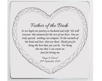 Father of the Bride/Groom Personalised Wedding Poem Glass Plaque