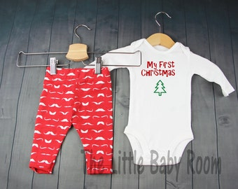 Boys Christmas Outfit,My First Christmas,Baby Boy Coming Home Set,Red,Personalized Onesie,Mustache,Gift,Leggings,Baby Hat,Clothes,Pants