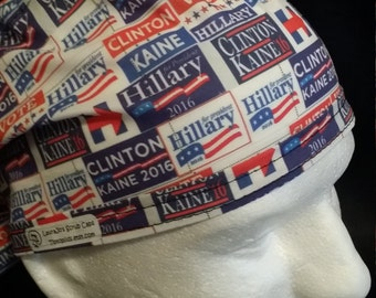 Hillary Clinton Tim Kaine for President  2016 Tie Back Surgical Scrub Hat