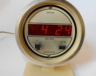 Vintage 70s Westclox Mod Space Age LED Alarm Clock - White / Cream Works!
