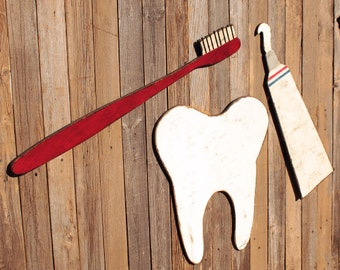 Dental Office Decor Dentist Decor Dentist Gift Dental Hygienist Giant Tooth - Big Toothbrush -  Dentistry  - Rustic - Whimsical - Photo Prop