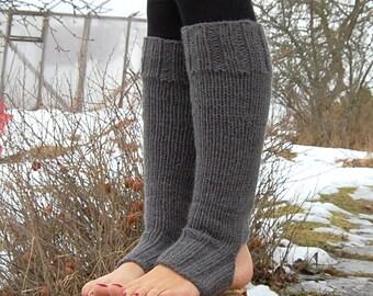 Chunky Yoga Socks, Knee Legwarmers, Hand knit Yoga Socks, Yoga Spats,Knitted Toe - less Socks, Fitness Socks, Flip Flop Socks, Pilates Socks