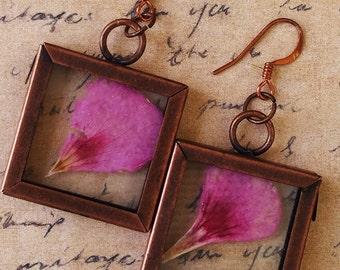 Pressed Pink Flower Botanical Glass Earrings by Vicki Basta Jewelry