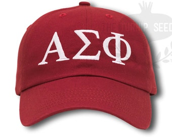 Alpha Sigma Phi Baseball Cap - Custom Color Hat and Embroidery.