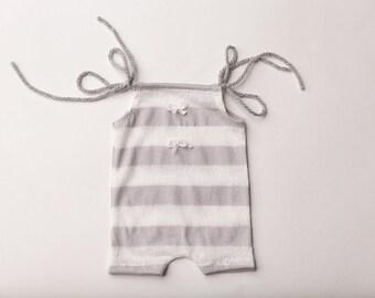"Newborn Girl Romper with headband- ""Madeline"" grey and white lace romper, newborn outfit, Newborn girl photo outfit, newborn girl photo prop"