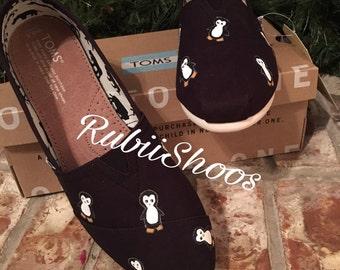 RubiiShoos Original- Penguins- TOMS- Black Toms- Hand Painted- Penguin Lover- Black And White- Birds