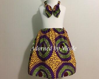 Girls African Print Skirt and Headband