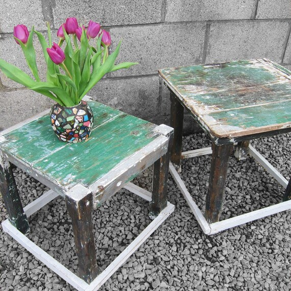 Vintage Side Tables Rough Luxe Painted Green Reclaimed Pine