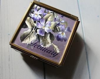 "Handcrafted ""February"" Jewelry/Trinket Glass Box"
