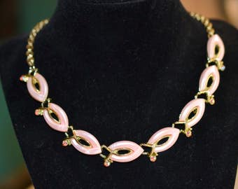 Vintage Pink Lucite AB Stone Collar Necklace; Gold Tone and Pink Necklace; Pink Lady Necklace