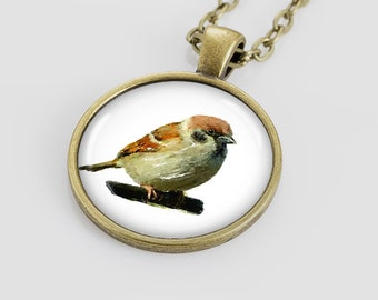 Sparrow pendant Sparrow jewelry for kids Animal for children Sparrow necklace pendant art by Nataly Novosad