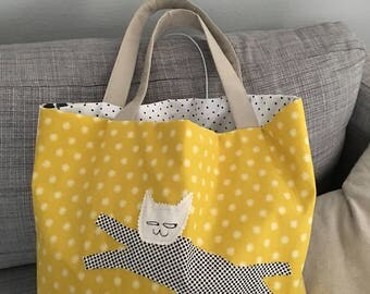 Handmade cat patching tote