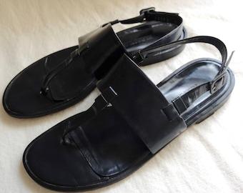 Jil Sander Black Leather Thong Sandals