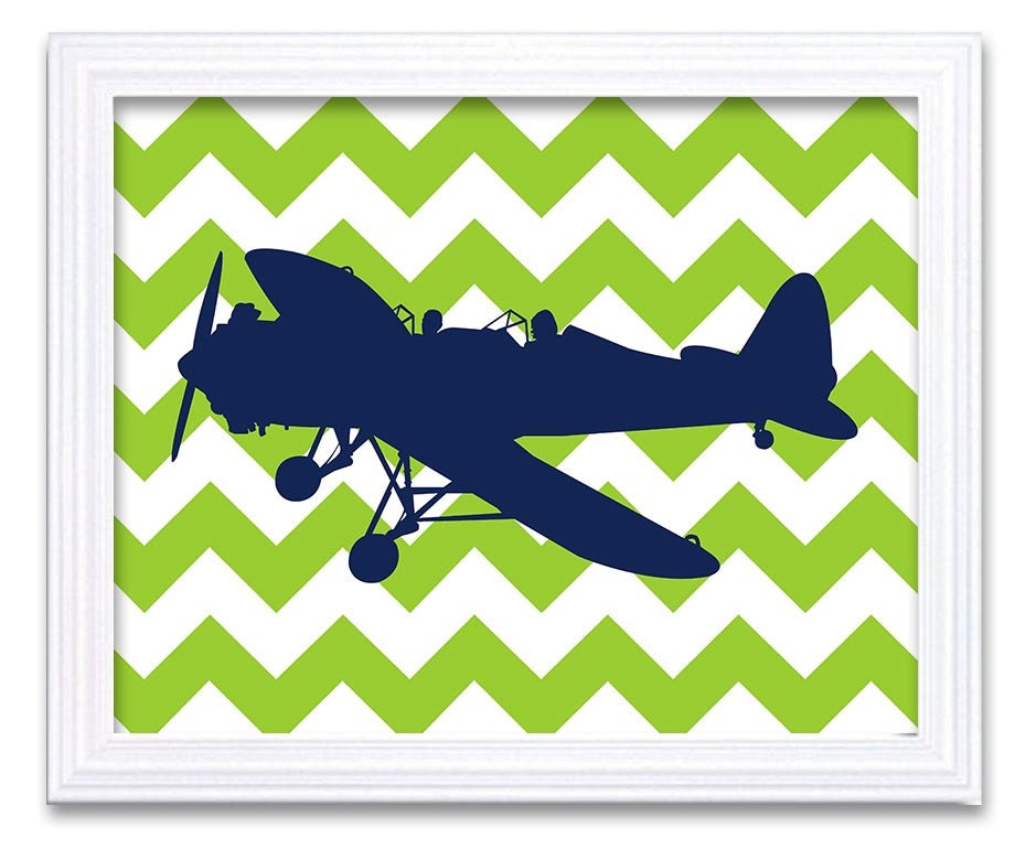White Airplane Plane Lime Green Navy Blue Background Boys Kids Room Wall Art Print Boys Art Nursery