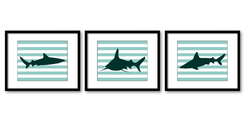 Green Teal Shark Animal Art Prints Stripes Set of 3 Grey Stripes Sharks Boys Art Nursery Art Print C