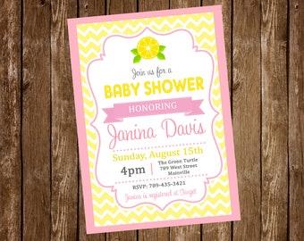 Lemonade Baby Shower Invitation, Pink Lemonade - Digital or Printed, Free Shipping!
