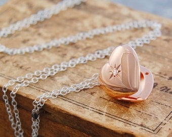 Wedding Gift, Bridesmaids Gift, Bridesmaids Necklace, Heart Pendant, Lockets, Locket Necklace, Photo Locket, Rose Gold Locket, Heart Locket
